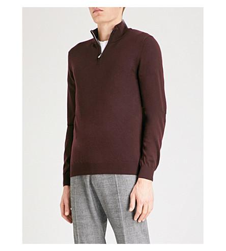 REISS Whitehall funnel-neck wool jumper (Bordeaux