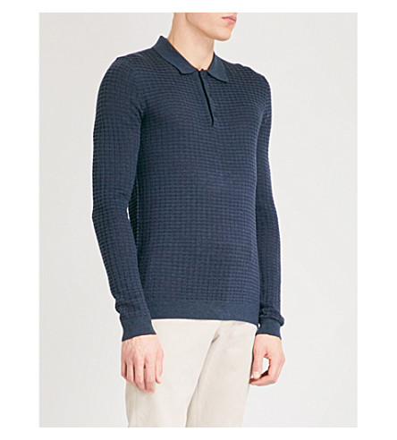 REISS Mountain geometric-pattern knitted polo jumper (Airforce+blue