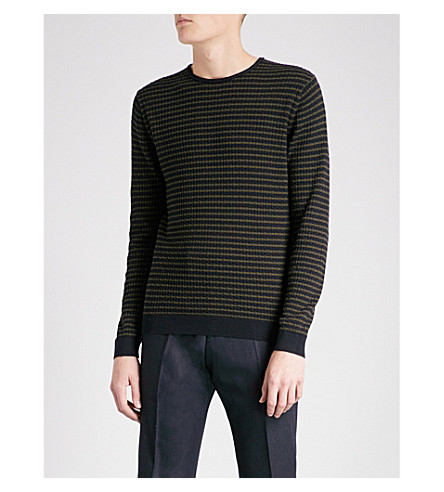 REISS Hermitage striped cotton jumper (Navy