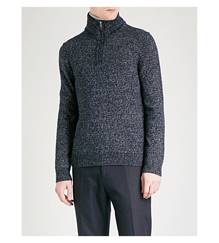 REISS Armour funnel-neck knitted jumper (Navy