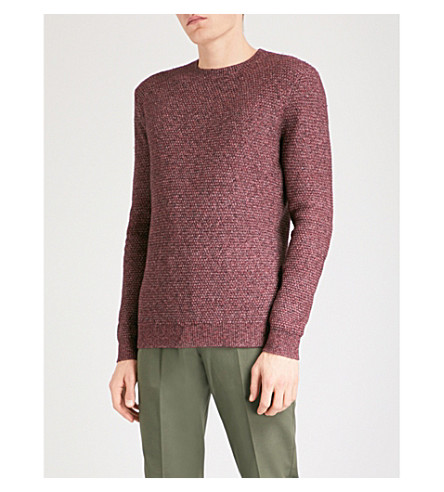 REISS Hexan knitted cotton-blend jumper (Bordeaux