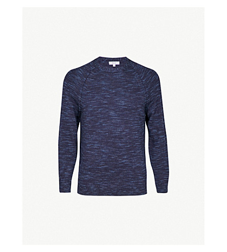 REISS Senior marled wool jumper (Airforce+blue