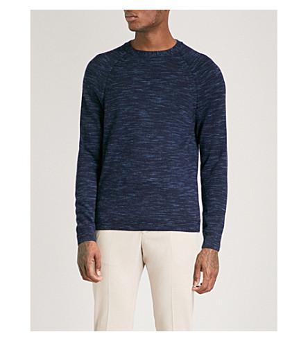 REISS Senior marled wool jumper (Airforce+blue