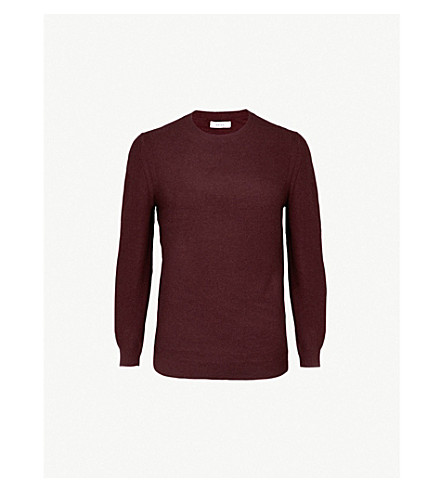 REISS Prince ribbed-knit wool and cashmere-blend jumper (Plum