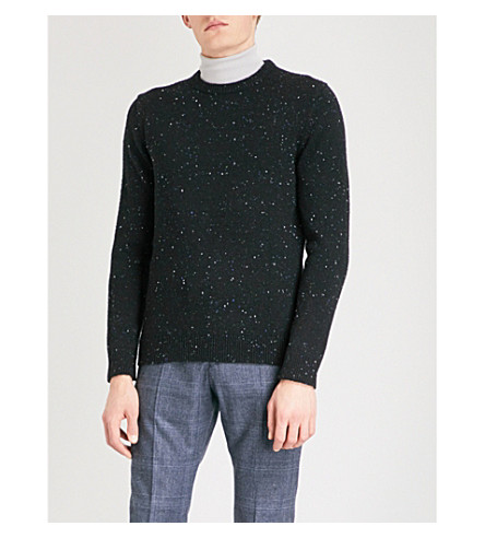 REISS Snowy wool-blend jumper (Navy/black