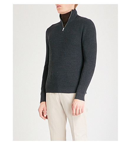REISS Fort funnel-neck wool-blend jumper (Charcoal