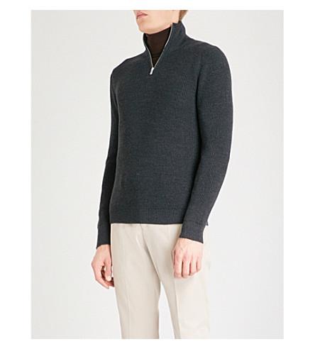 REISS Fort funnel-neck wool-blend jumper (Charcoal