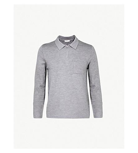 REISS Sail wool-blend polo shirt (Grey