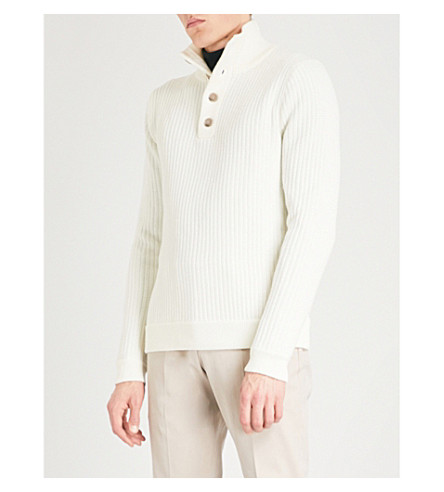 REISS Wayne funnel-neck wool-blend jumper (Ecru