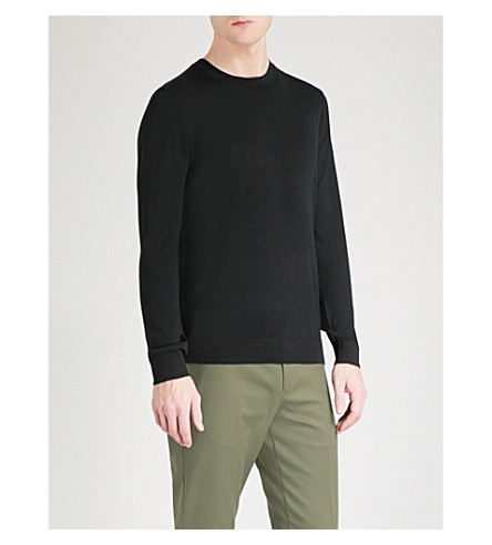 REISS Wessex waffle-knit wool jumper (Black