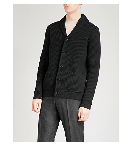 REISS Atlantic shawl collar wool-blend cardigan (Black