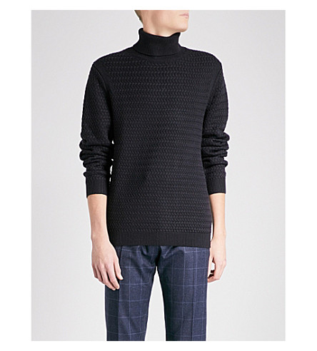 REISS Raphael turtleneck wool-blend jumper (Navy