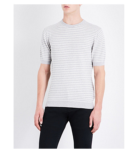 REISS Marley striped cotton-jersey knitted T-shirt (Soft+grey