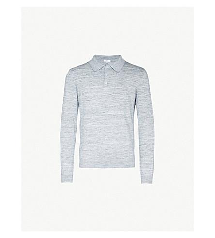 REISS Crown cotton polo shirt (Blue+melange