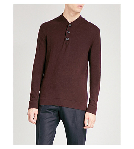 REISS Mount knitted jumper (Bordeaux