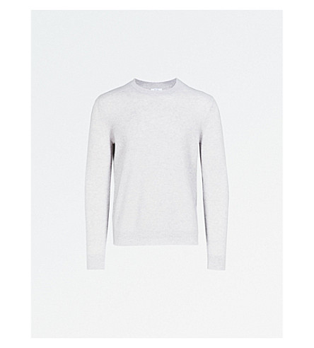 REISS Gateside cashmere crewneck jumper (Light+grey