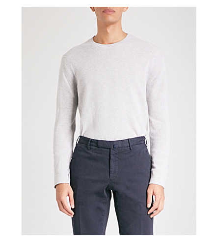 REISS Gateside cashmere crewneck jumper (Light+grey
