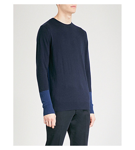 REISS Melville colour-block sleeves knitted jumper (Navy