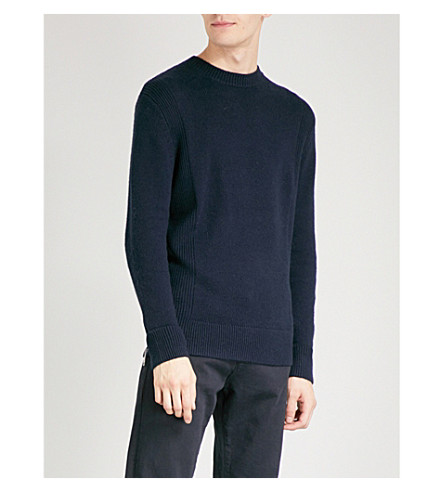 REISS Witham-panelled rib crew (Navy
