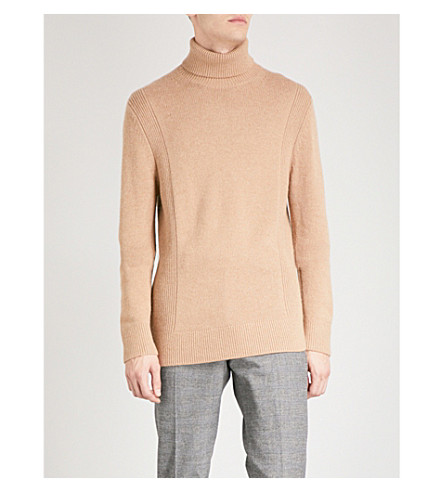 REISS Ashbourne turtleneck waffle-knit jumper (Camel