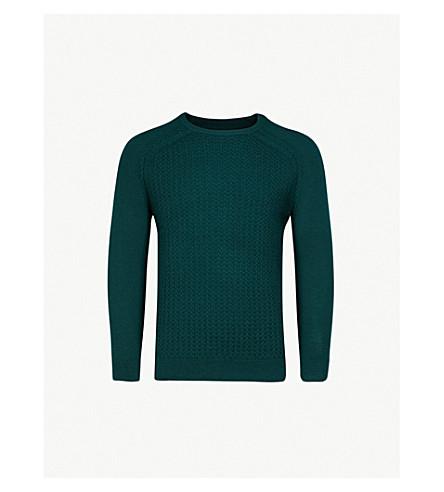 REISS Nielson panelled wool jumper (Dark+green