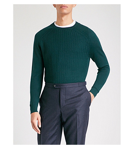 REISS Nielson panelled wool jumper (Dark+green