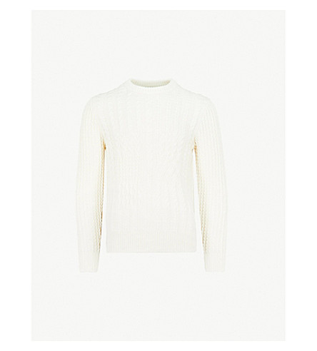 REISS Lambert cable-knit wool-blend jumper (Ecru