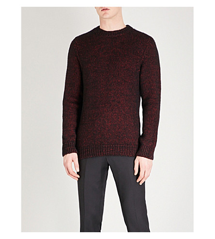 REISS Ellington cotton and wool-blend jumper (Bordeaux