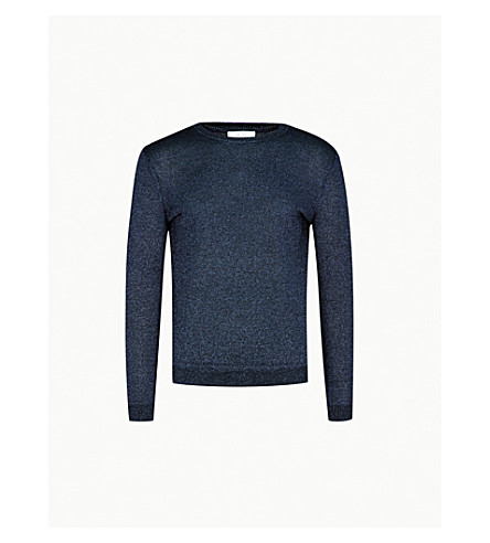 REISS Daventry wool-blend jumper (Blue