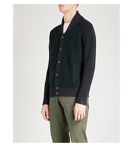 REISS Millside wool cardigan (Navy