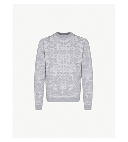 REISS Leyburn geometric-jacquard knitted jumper (Grey