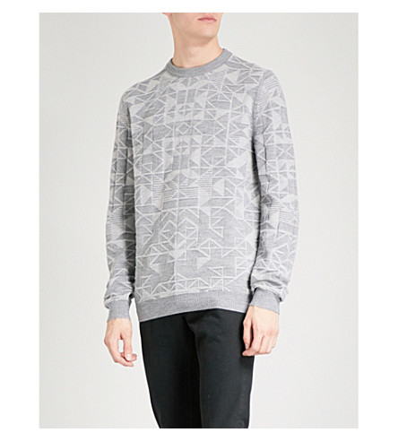 REISS Leyburn geometric-jacquard knitted jumper (Grey