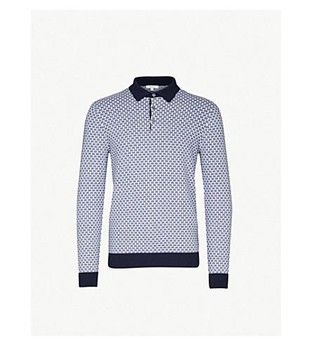 REISS Ian textured cotton polo shirt (Navy