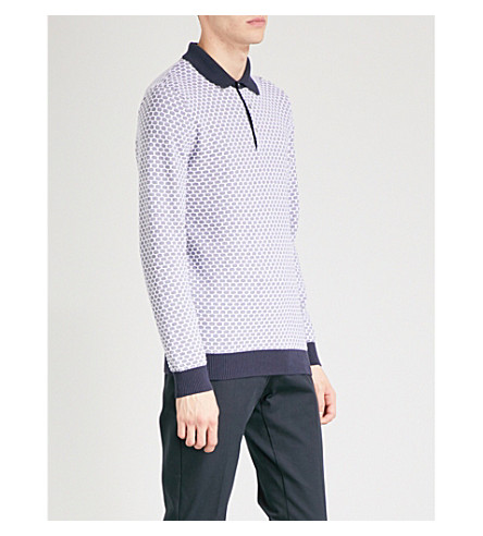 REISS Ian textured cotton polo shirt (Navy