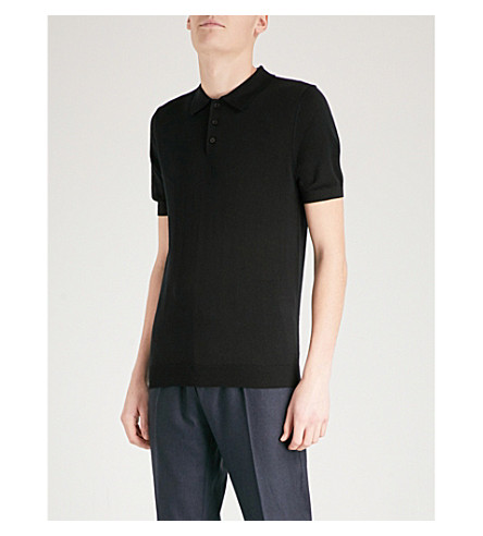 REISS Manor wool polo shirt (Black