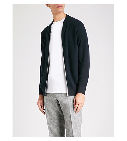 REISS Dagger cotton-blend cardigan (Navy