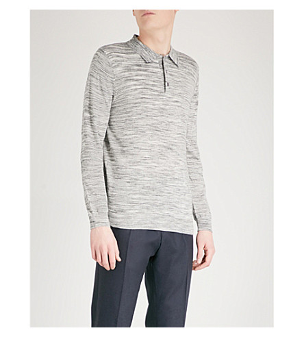 REISS Ryan wool polo shirt (Grey