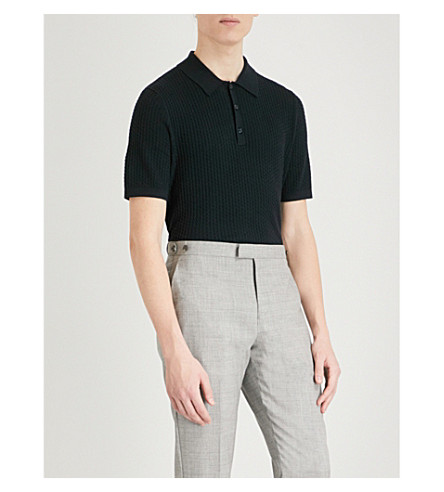REISS Alfred cable-knit polo shirt (Navy