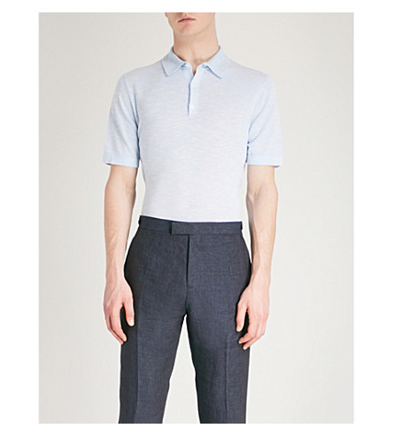 REISS Knitted polo shirt (Soft+blue