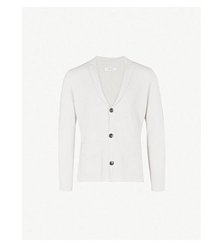 REISS Claridge knitted cardigan (Soft+grey