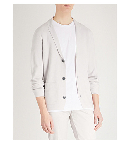 REISS Claridge knitted cardigan (Soft+grey