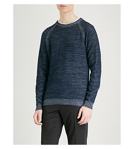 REISS Charlston crewneck cotton jumper (Navy/green