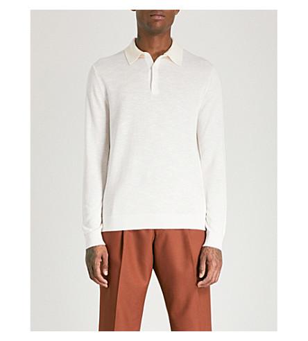 REISS Davie marl-pattern knitted polo shirt (Ecru