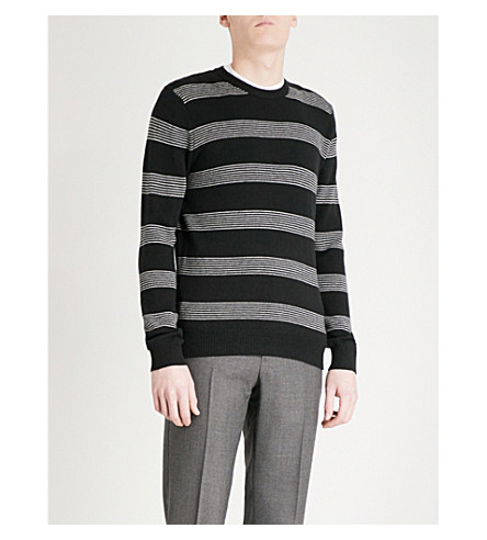 REISS Magic zigzag knitted jumper (Black