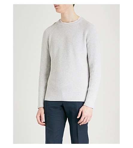 REISS Emory cotton-blend jumper (Grey+melange