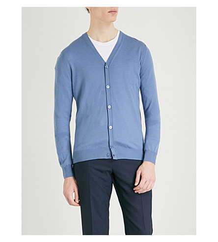 REISS Hampstead V-neck wool cardigan (Cornflower+blue
