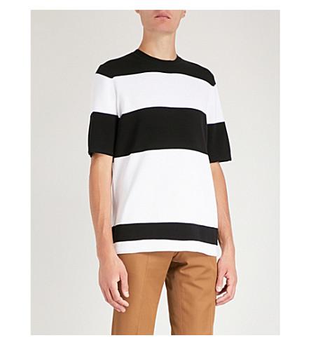 de a Longdon algodón negro gofre de REISS de rayas punto camiseta qfZCqxEw
