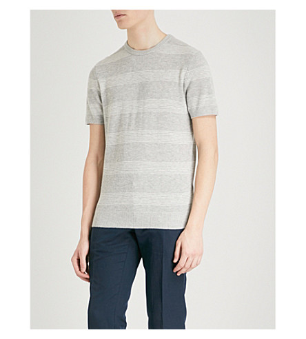 REISS Mckenna knitted T-shirt (Soft+grey