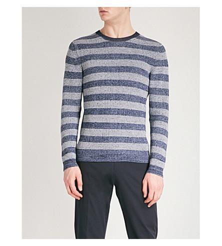 REISS Peter striped cotton jumper (Navy