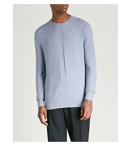 REISS Princeton cotton and silk-blend jumper (Airforce+blue